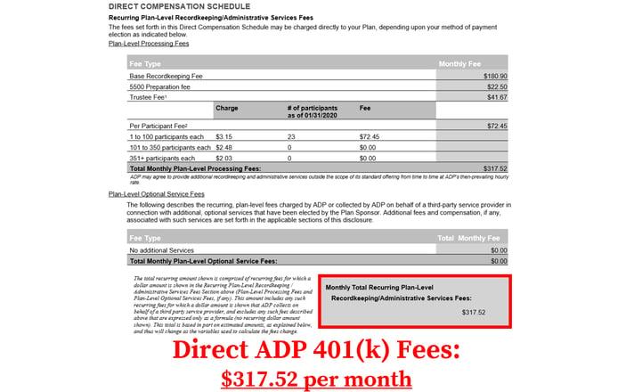 ADP 401k Fees_Direct Fees