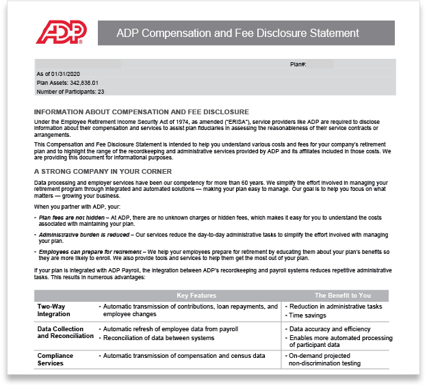 ADP Compensation and Fee Disclosure Statement