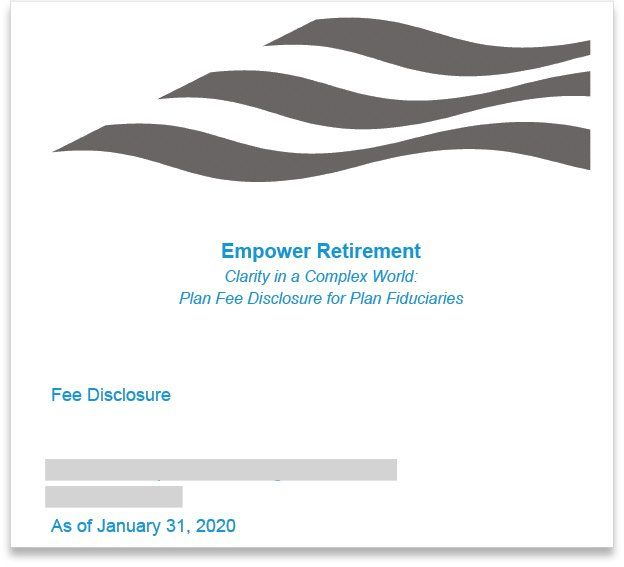Empower Plan Fee Disclosure for Plan Fiduciaries