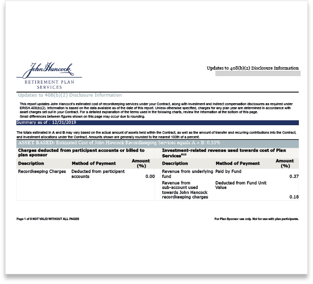 John Hancock Updates to 408(b)(2) Disclosure Information