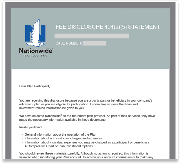 Nationwide Fee Disclosure 404(a)(5) Statement