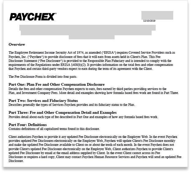 Paychex Retirement Plan Fee Disclosure Statement