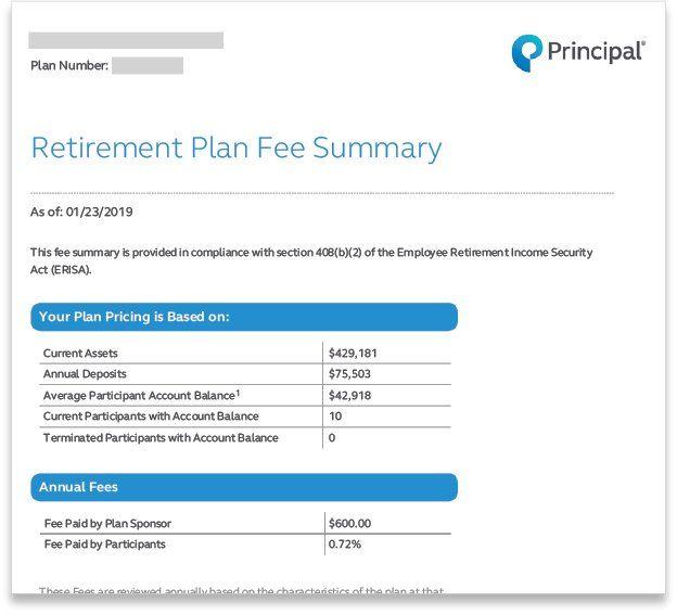 Principal Retirement Plan Fee Summary