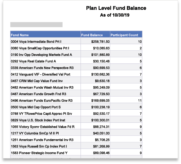 VOYA Plan Level Fund Balance