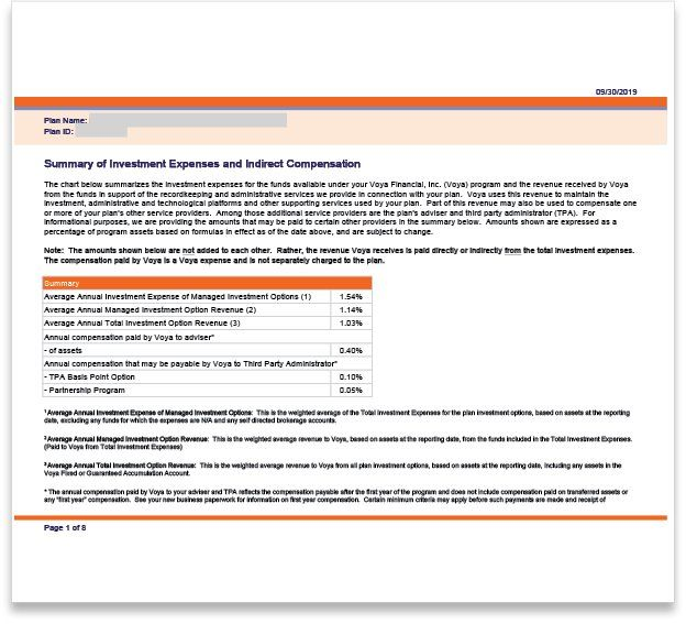 VOYA Summary of Investment Expenses and Indirect Compensation